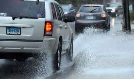 Here you can witness what happens with poor road drainage and how it may cause a car to hydroplane.