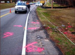 Police will mark the accident scene similar to this illustration.